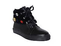 Кожаные зимние женские ботинки низкий ход Tucino №103-16-928