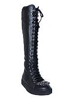 Женские кожаные зимние сапоги на низком ходу Tucino №11473-133