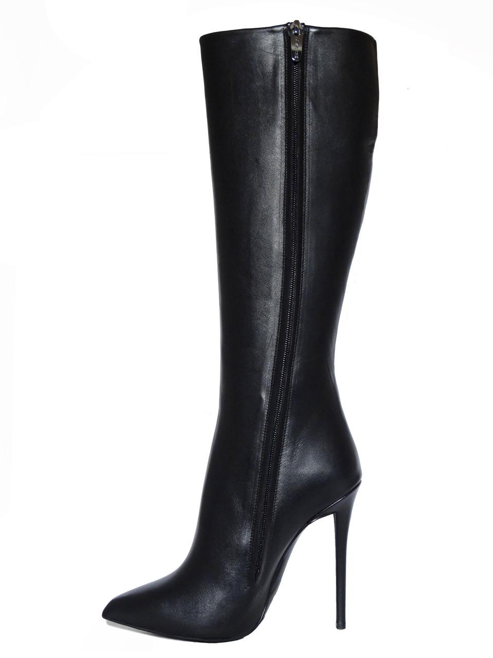 Женские кожаные сапоги коричневые