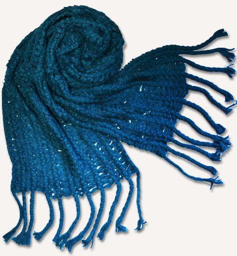 Теплый вязаный шарф 190 на 65 dress М0215_мор.волна