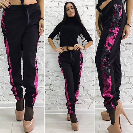 """Нарядные женские брюки """"Нора"""" с пайетками, фото 2"""