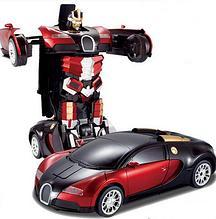 Машинка трансформер на радиоуправлении Autobots Bugatti, машинка-робот, красный