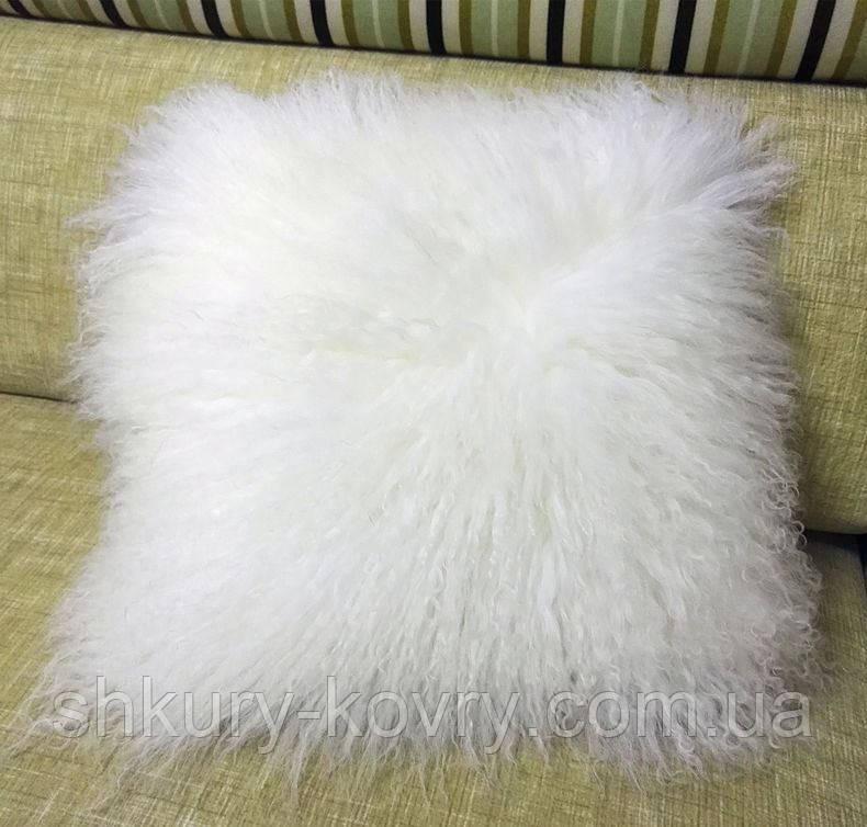 Декоративная белая подушка из меха натуральной перуанской ламы
