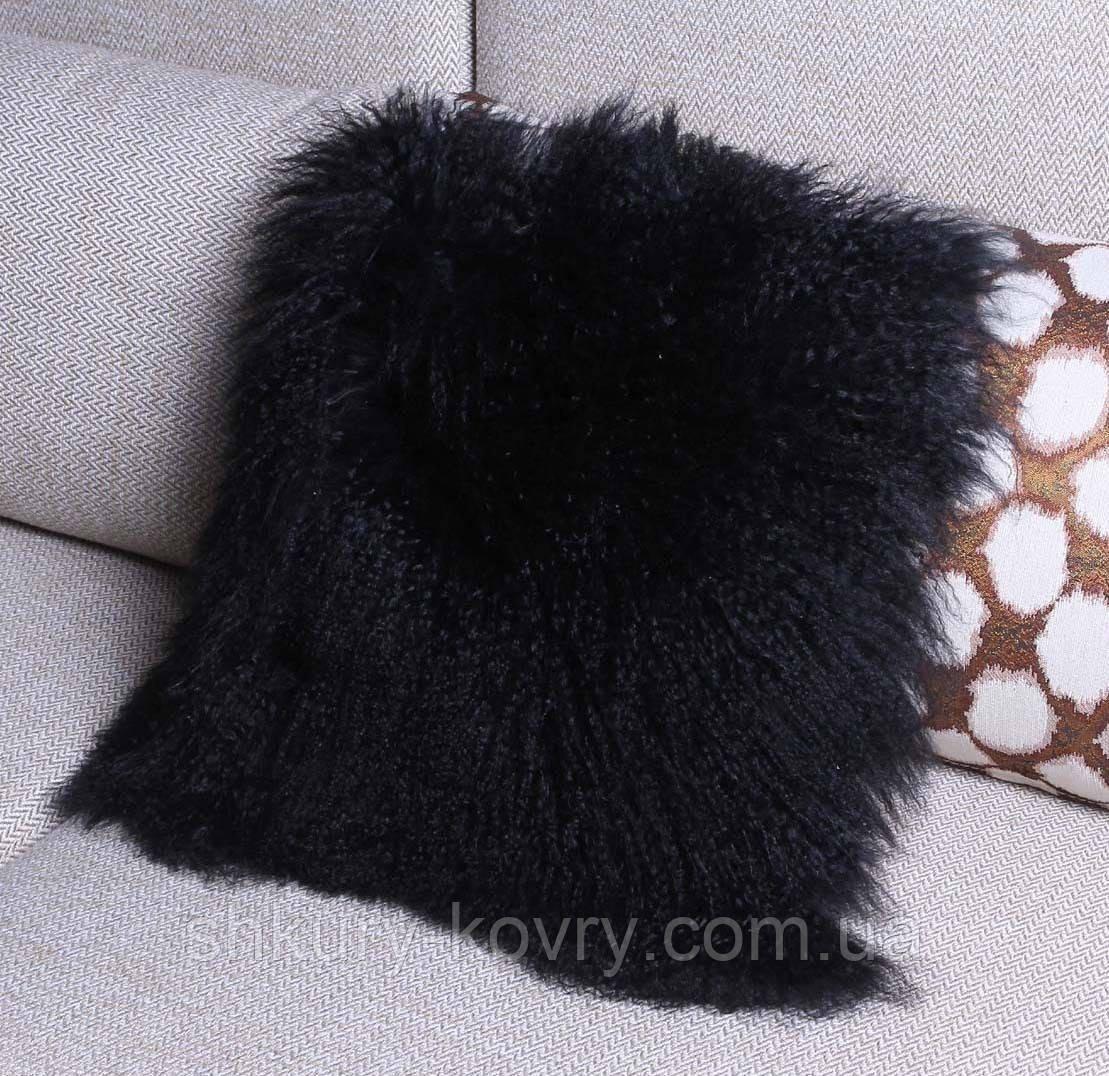 Черный натуральный мех ламы, черная подушка из меха натуральной перуанской ламы