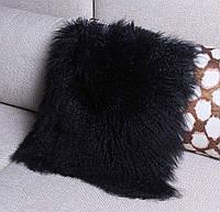 Черный натуральный мех ламы, черная подушка из меха натуральной перуанской ламы, фото 1