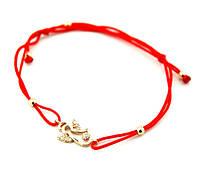 Красная нить-браслет с позолоченой подвеской