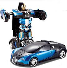 Машинка-трансформер на радиоуправлении Autobots Bugatti, машинка-робот, синий