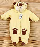 """Велюровый комбинезон для новорожденного на махре """"Мишка"""" желтый"""