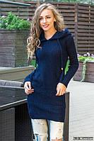Модная молодежная вязанная туника с капюшоном , размер 44-46-48.