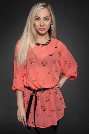 Красивая женская летняя шифоновая блузочка с перфорацией 44-48, фото 2