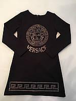 Платье черное для девочек Версаче с стразами