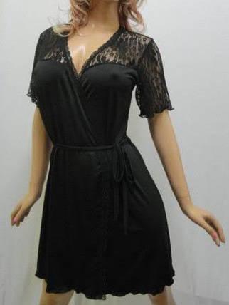 """Халат с гипюром чёрный короткий сексуальный от 44 до 56 размера """"Сердце Королевы"""", фото 2"""