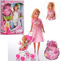 Кукла 88076-1 беременная,с дочкой,коляска,пупс5,5см,аксессуары,