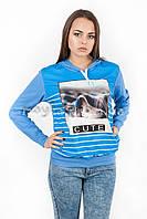 Женская толстовка с капюшоном Коте голубая р.44-48  N33-1