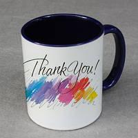 Печать фото на чашках синих внутри и с синей ручкой