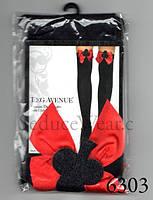 Чулки Черные с Красными Бантиками Секси Карточная Королева XS/S