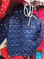 Детская куртка ветровка Сердечко для девочки оптом 3-7 лет синяя