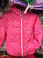 Детская куртка ветровка Сердечко  для девочки оптом 3-7 лет розовая