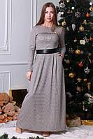 Длинное платье в модный принт гусиная лапка