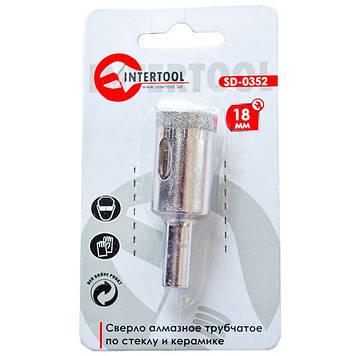Сверло алмазное трубчатое по стеклу и керамике 18 мм INTERTOOL SD-0352