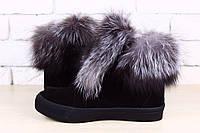 Ботинки женские Hermes зимние замша с мехом чернобурки Uk0380
