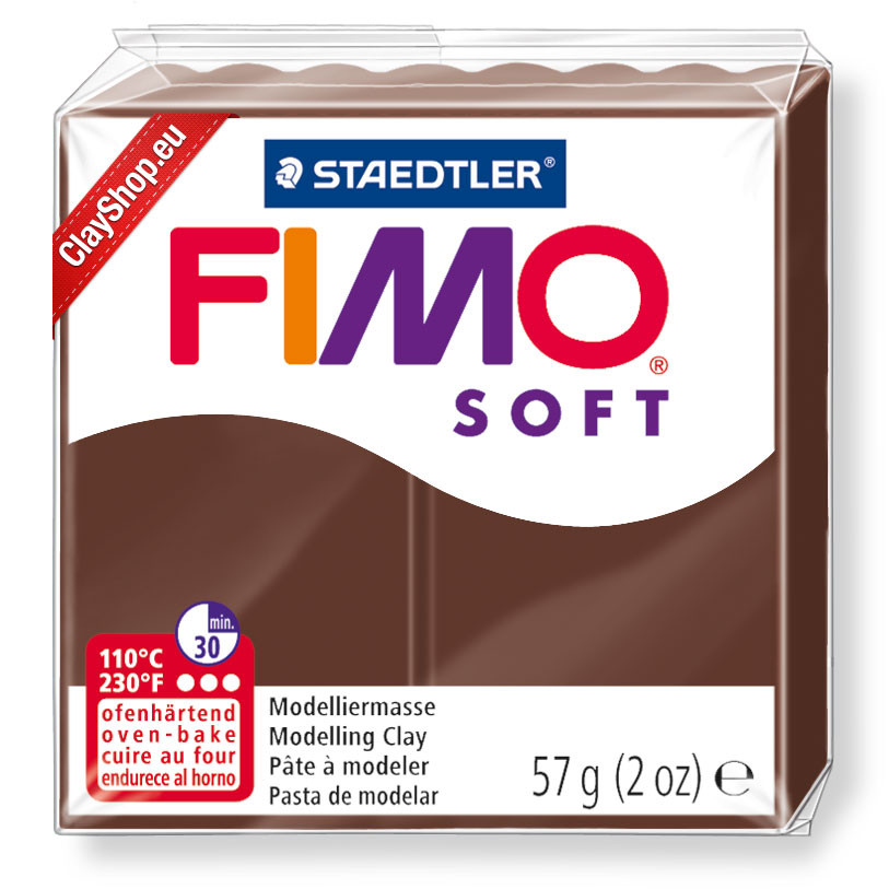 Полимерная глина пластика Фимо Софт Fimo Soft шоколад 75 - 56гр