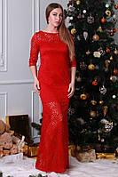 Красное длинное платье из модного гипюра