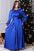 Атласное длинное платье с красивыми рукавами