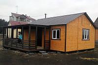 Дачный домик 8м х 6м из блокхауса с террассой, фото 1