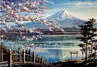 Алмазная вышивка Сакура на берегу горного озера KLN 40 х 50 см (арт. FS372)
