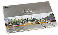 Карандаши Raffine 36 цветов акварельные с кистью в металлическом пенале Marco