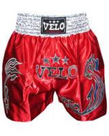 Трусы для тайского бокса VELO ULI-9200-R(S) (PL, р.S, красный-золото, красный-серебро)