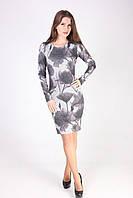 Женское платье в красивый серый цветочный рпинт