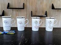 Чашка с крышкой и ложкой ( Нью Йорк, Лондон, Париж, Рим )