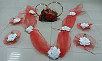Свадебный комплект украшений для авто (№ 10) красный