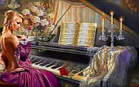 Набор алмазной вышивки Прелестная девушка и музыка 40 х 50 см (арт. FS384)