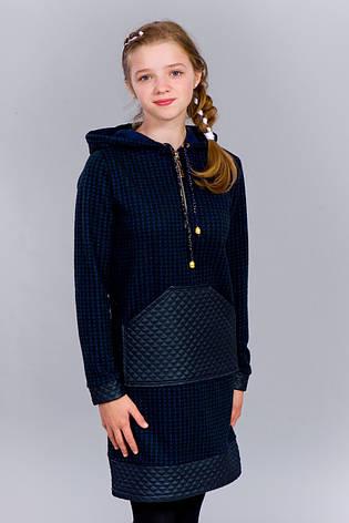 Детское стильное теплое трикотажное платье-туника со вставками эко-кожи, фото 2