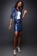 Модный костюм жакет и юбка из эко-кожи в 4х цветах JD Оникс