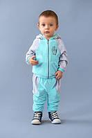 Велюровый детский костюм спортивный для малыша от 9 мес.  до 2 лет (толстовка и штаны) ТМ Модный Карапуз Бирюза+серый