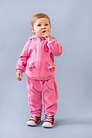 Велюровый детский костюм спортивный для малышки от 9 мес.  до 2 лет (толстовка и штаны) ТМ Модный Карапуз Розовый