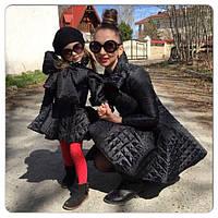 Комплект стеганых пальто с юбкой мама и дочка