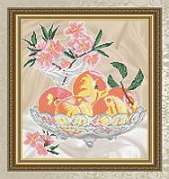 Авторская канва для вышивки бисером «Персики в хрустале»