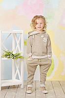 Детский хлопковый костюм с люрексом для спорта для девочки 4-7 лет (брюки, толстовка ) ТМ Модный Карапуз Золото