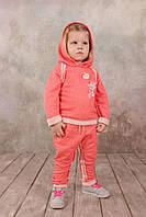Детский хлопковый костюм спортивный для девочки от 1.5-5 лет (брюки, толстовка ) ТМ Модный Карапуз Коралловый