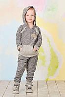 Спортивный детский костюм из трикотажа для мальчика от 4  до 7 лет (толстовка и штаны) ТМ Модный Карапуз Темно-серый