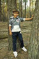 Трикотажный детский костюм (спорт) для мальчика от 4  до 8 лет (толстовка и штаны) ТМ Модный Карапуз Темно-синий