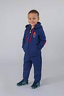 Утепленный детский костюм спортивный для мальчика от 4-8 лет (толстовка и штаны) ТМ Модный Карапуз Ярко-синий