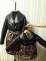 Одинаковые зимние куртки мама и дочка