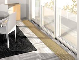 конвектор внутрипольный вдоль витражного окна - продольная решетка декоративная