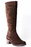 Сапоги из натурального замша коричневого цвета